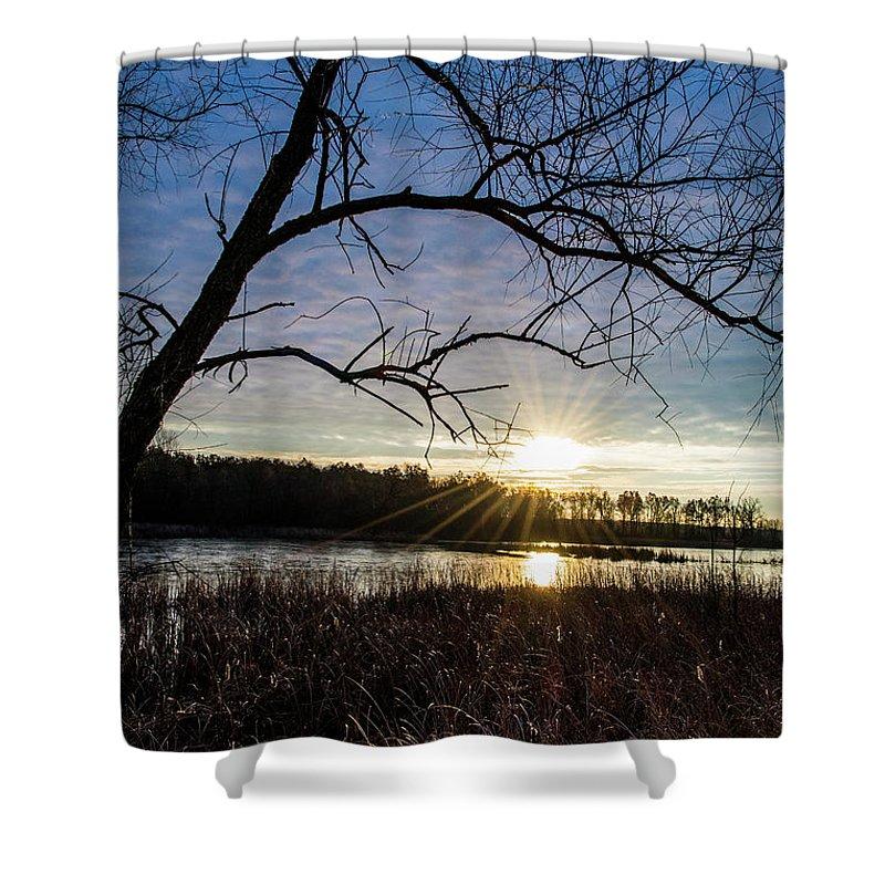 Sunrise Shower Curtain featuring the photograph Blue Sky Sunrise On The Marsh by Angela Mocniak