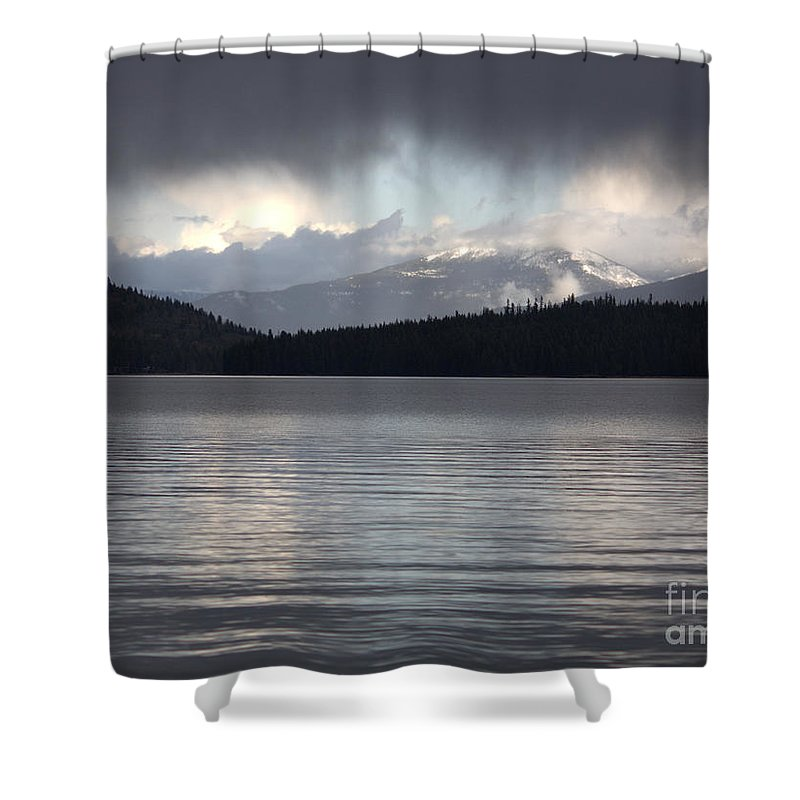 Clouds Shower Curtain featuring the photograph Blue Sky Through Dark Clouds by Carol Groenen