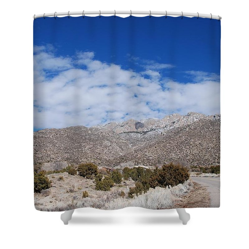 Sandia Mountains Shower Curtain featuring the photograph Blue Skys Over The Sandias by Rob Hans