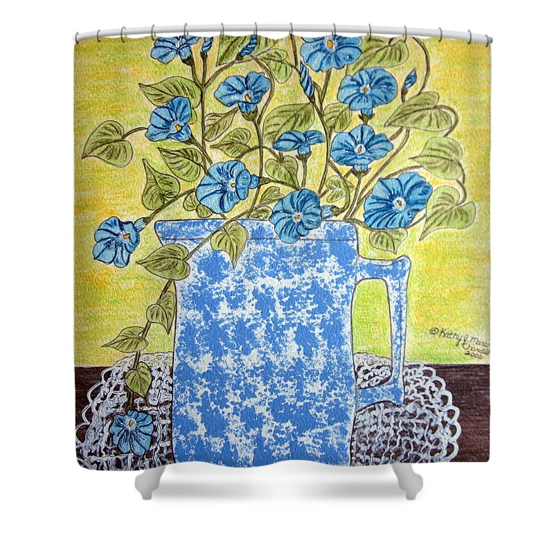 Blue Shower Curtain featuring the painting Blue Spongeware Pitcher Morning Glories by Kathy Marrs Chandler