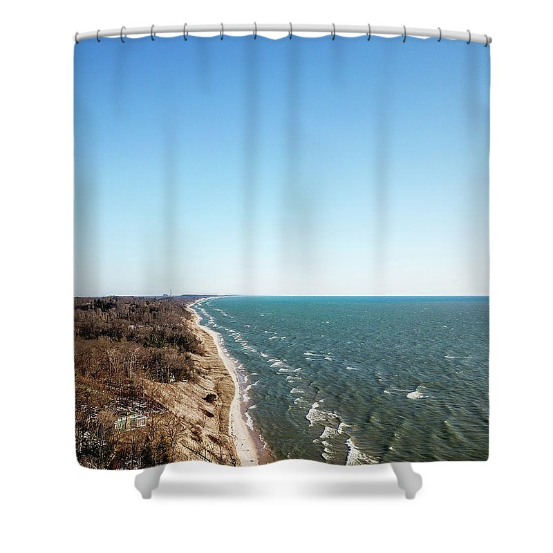 Above Shower Curtain featuring the photograph Blue Spring by Anton Shelepov