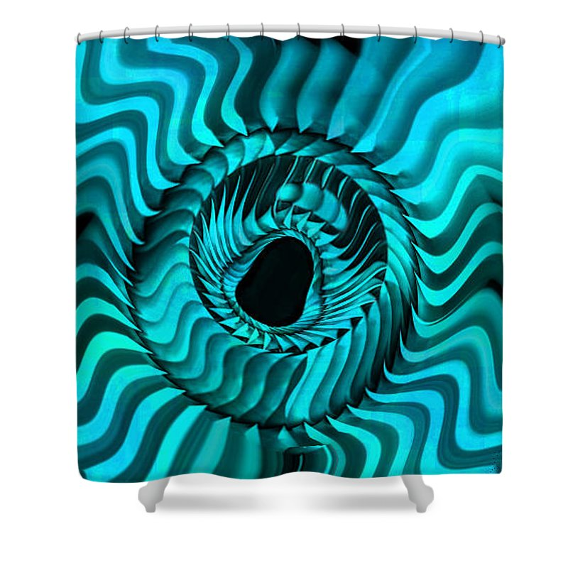 Star Shower Curtain featuring the digital art Blue Starburst by Kevin Caudill
