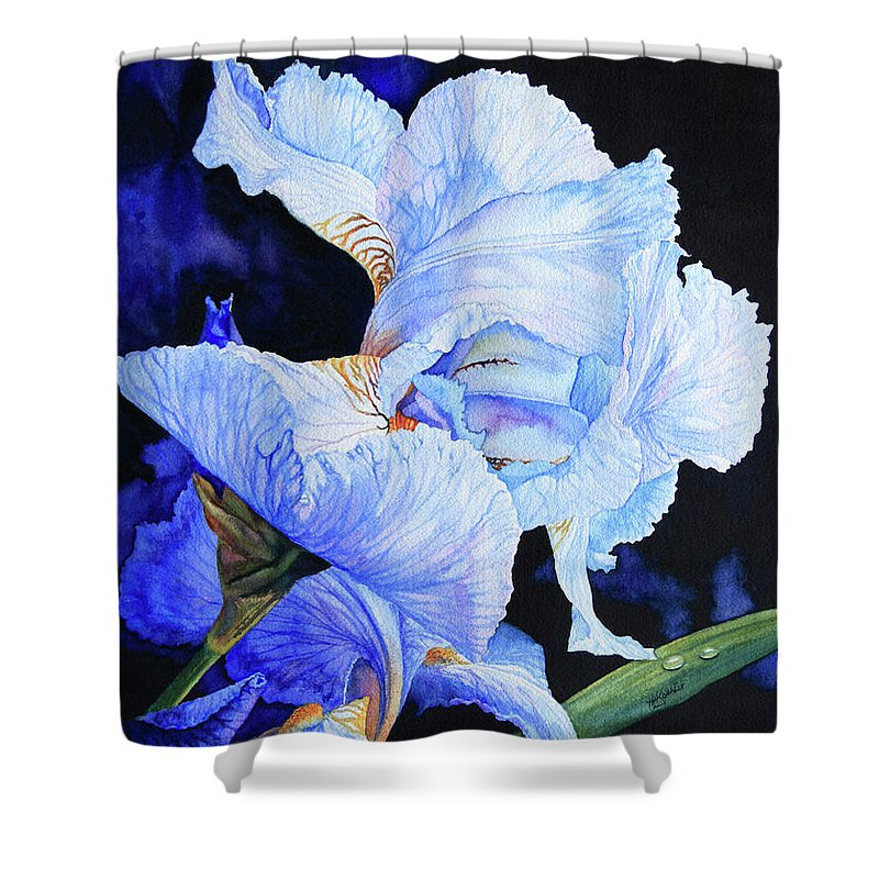 Floral Painting Shower Curtain featuring the painting Blue Summer Iris by Hanne Lore Koehler