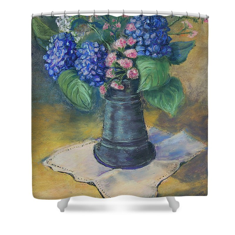 Flowers Shower Curtain featuring the painting Blue Summer by Laurie Paci