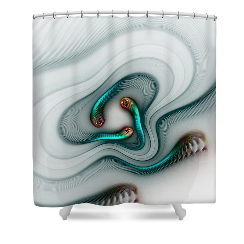 Digital Painting Shower Curtain featuring the digital art Blue Swimmers by David Lane