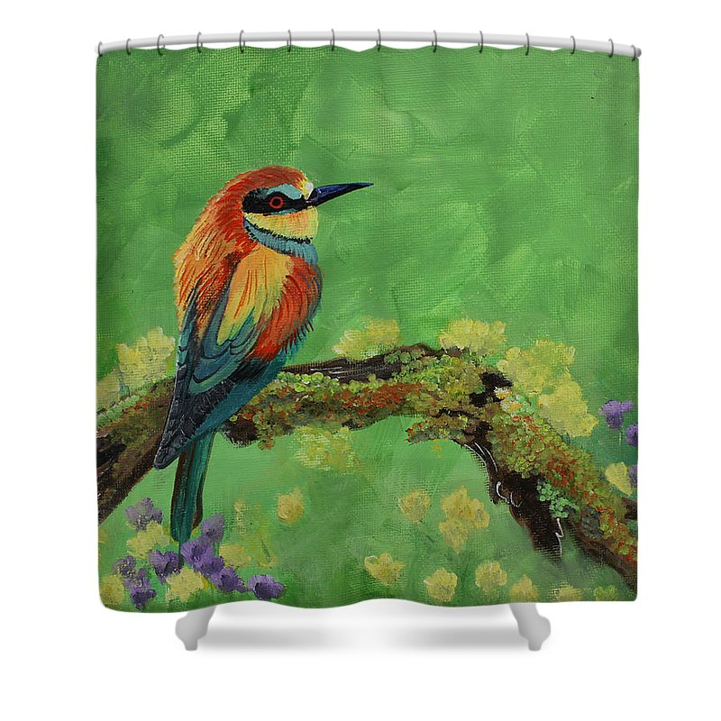 Bird Shower Curtain featuring the painting Blue Tailed Bee Eater by Laura Wilson