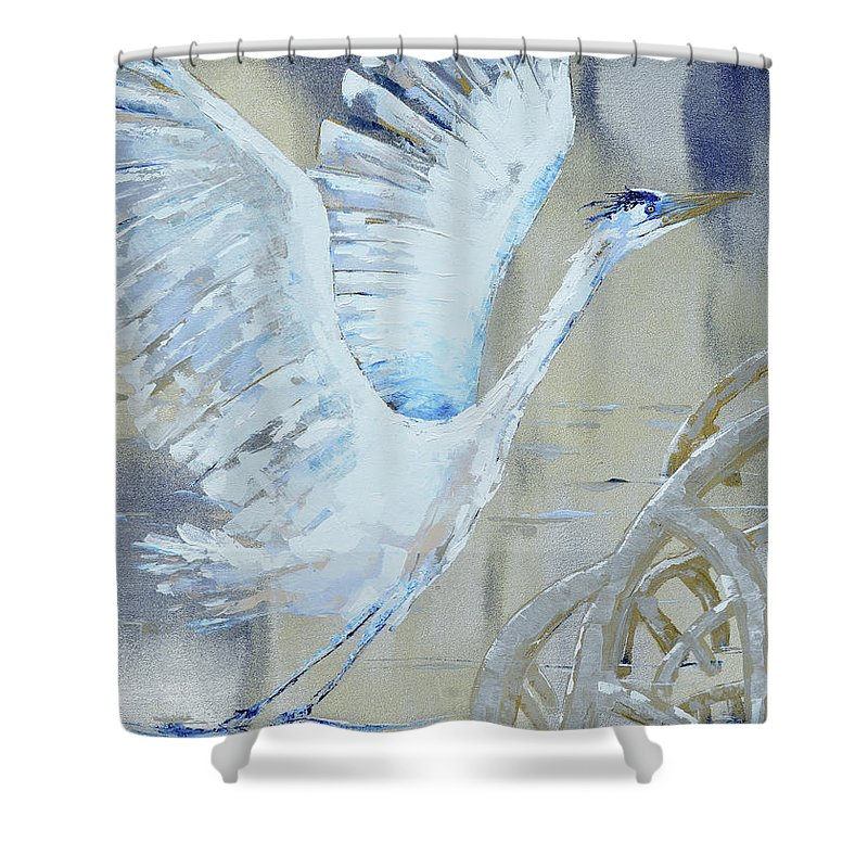 Egret Shower Curtain featuring the painting Blue Take Off by Paola Correa de Albury