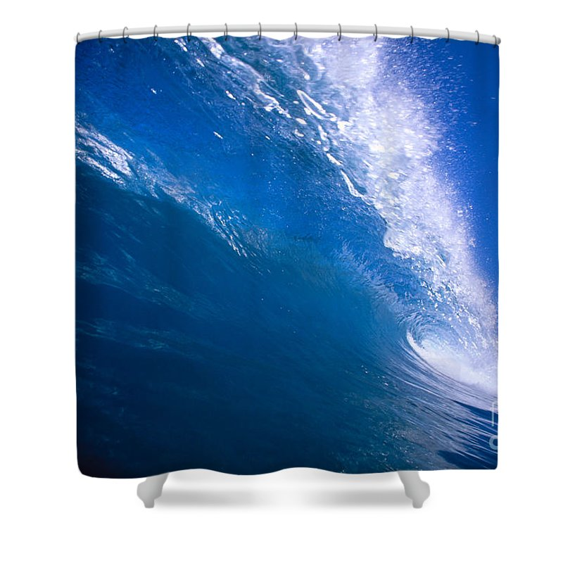 B1494 Shower Curtain featuring the photograph Blue Translucent Wave by Vince Cavataio - Printscapes