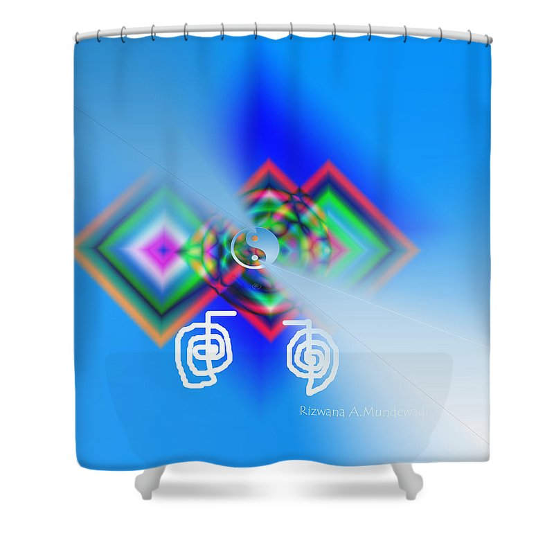 Triple Squares Shower Curtain featuring the digital art Blue Triple Interconnected Squares by Rizwana A Mundewadi