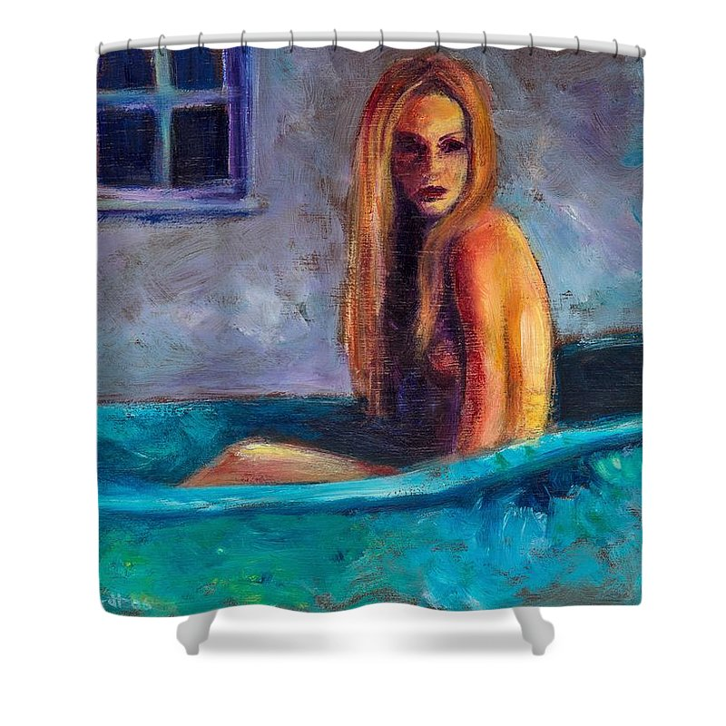Nude Shower Curtain featuring the painting Blue Tub Study by Jason Reinhardt
