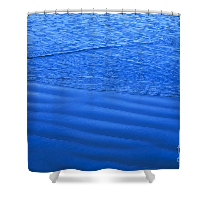 Alongside Shower Curtain featuring the photograph Blue Water And Shore by Dana Edmunds - Printscapes