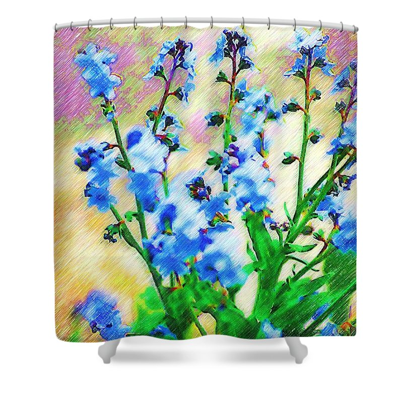 Blue Shower Curtain featuring the photograph Blue Wildflowers by Donna Bentley