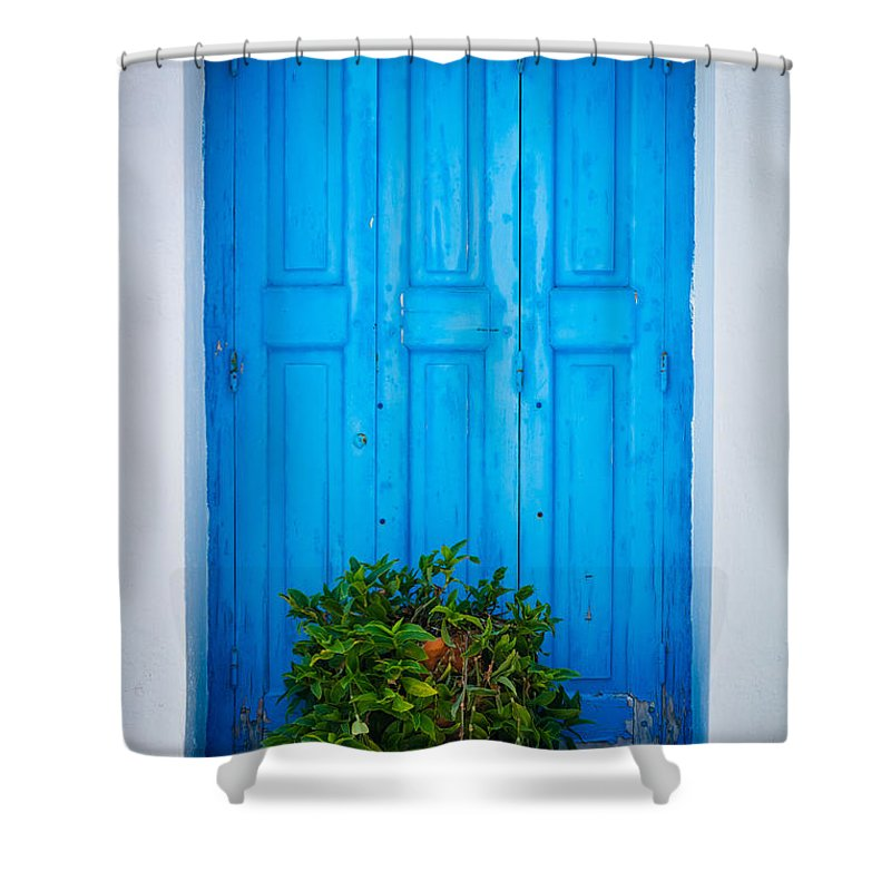 Aegean Sea Shower Curtain featuring the photograph Blue Window by Inge Johnsson