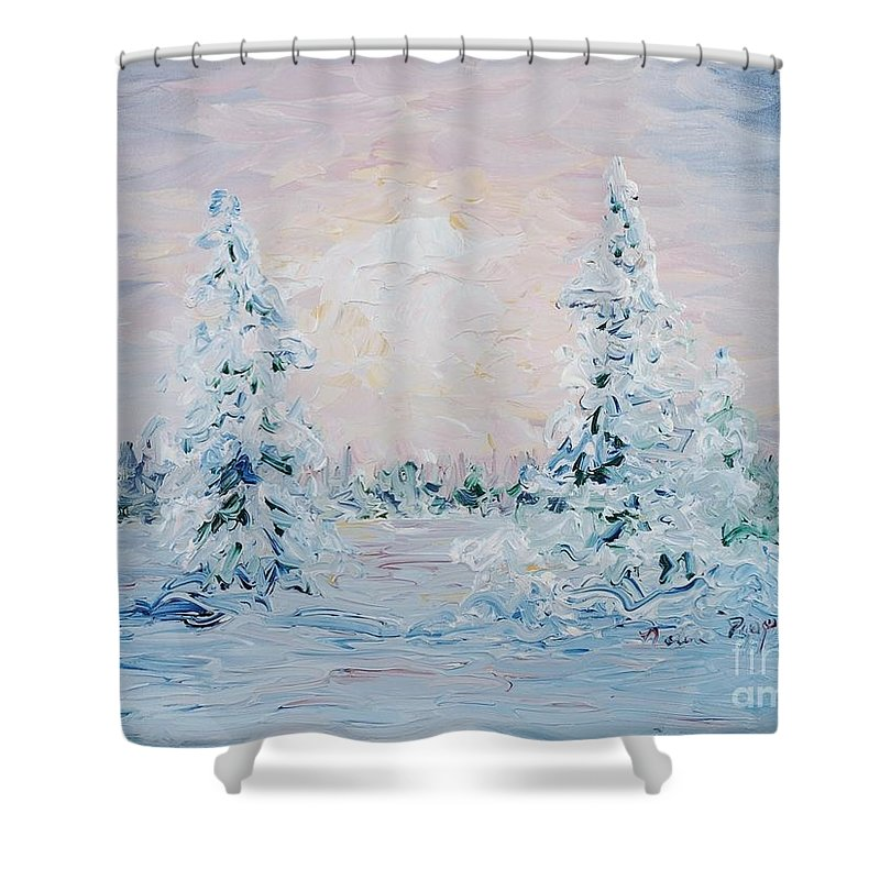 Landscape Shower Curtain featuring the painting Blue Winter by Nadine Rippelmeyer