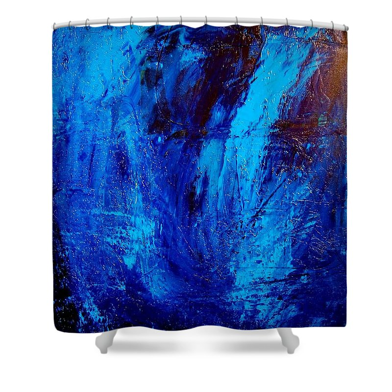 Impressionist Framed Prints Shower Curtain featuring the mixed media Blue Yoga by Mark Kazav