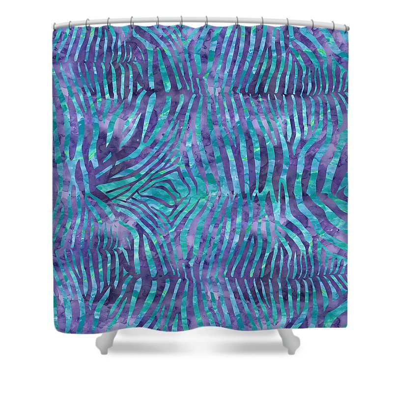 Painting Shower Curtain featuring the painting Blue Zebra Print by Aloke Creative Store