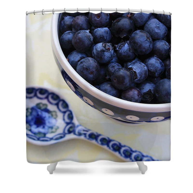 Still Life Of Fruit Shower Curtain featuring the photograph Blueberries And Spoon by Carol Groenen