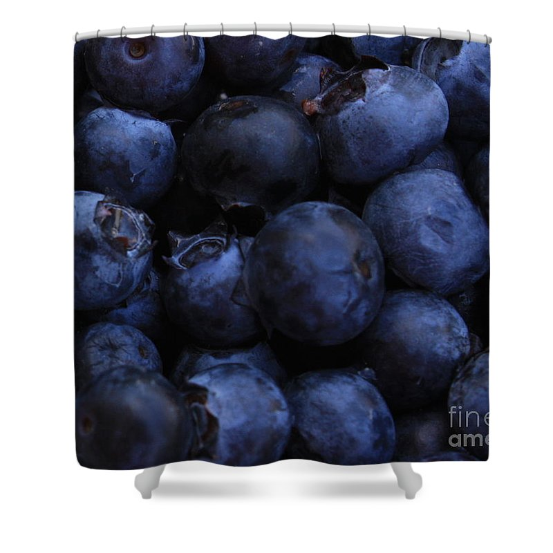 Blueberries Shower Curtain featuring the photograph Blueberries Close-up - Horizontal by Carol Groenen