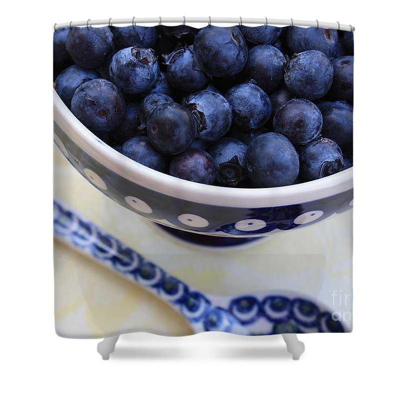Food Shower Curtain featuring the photograph Blueberries In Polish Pottery Bowl by Carol Groenen