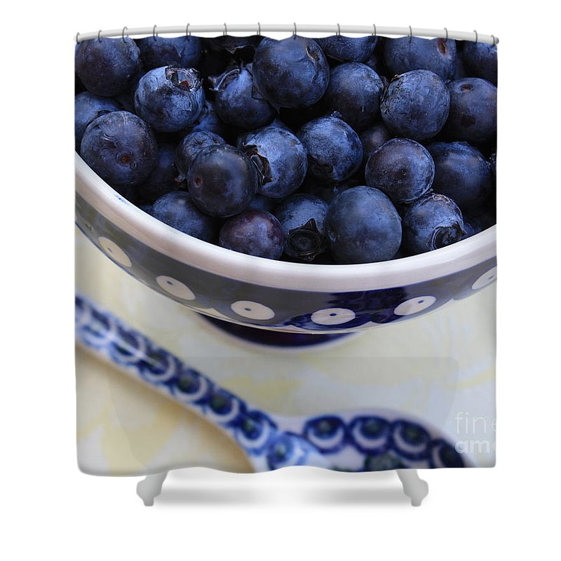 Food Shower Curtain featuring the photograph Blueberries With Spoon by Carol Groenen