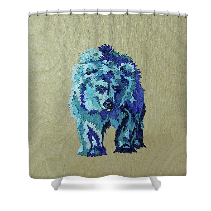Bear Shower Curtain featuring the painting Blueberry by Lacey Hermiston