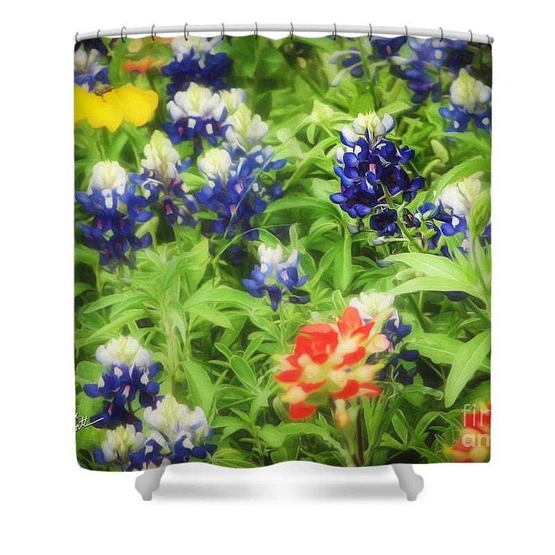 Bluebonnets Shower Curtain featuring the photograph Bluebonnet Bouquet by TK Goforth