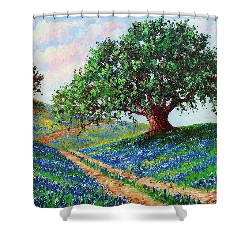 Bluebonnet Shower Curtain featuring the painting Bluebonnet Road by David G Paul