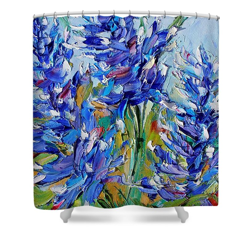 Bluebonnets Shower Curtain featuring the painting Bluebonnets Of Texas by Karen Tarlton