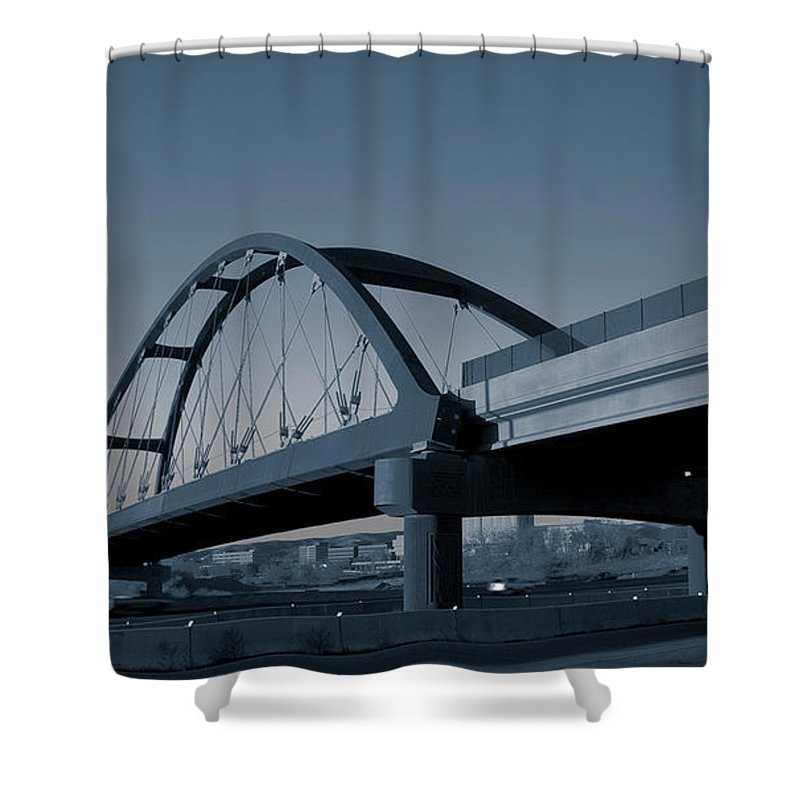 Duotone Shower Curtain featuring the photograph Blued Bridge by Angus Hooper Iii