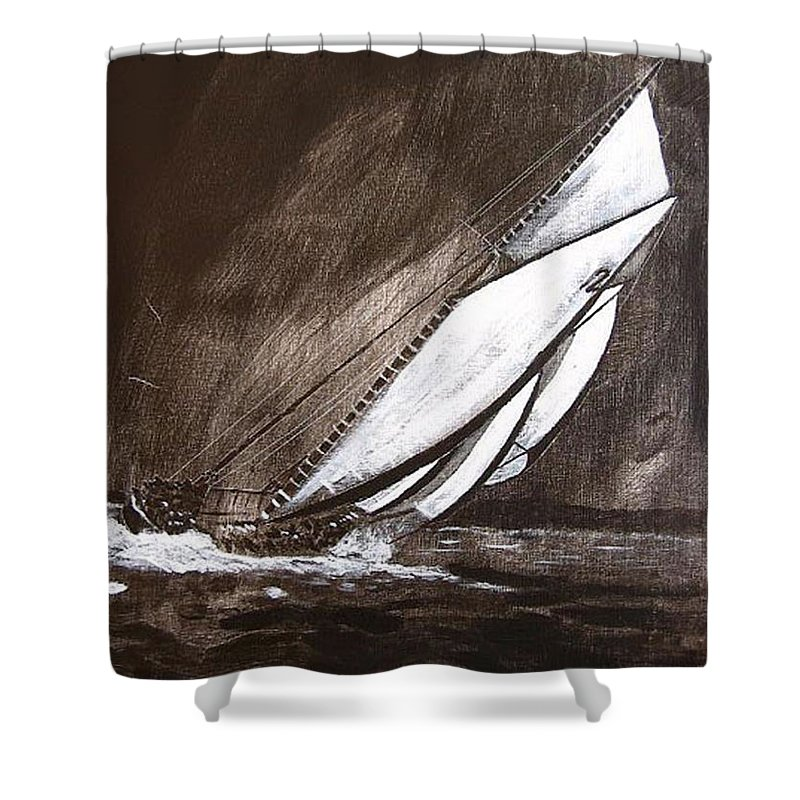 Bluenose Shower Curtain featuring the painting Bluenose At Night Going by Richard Le Page