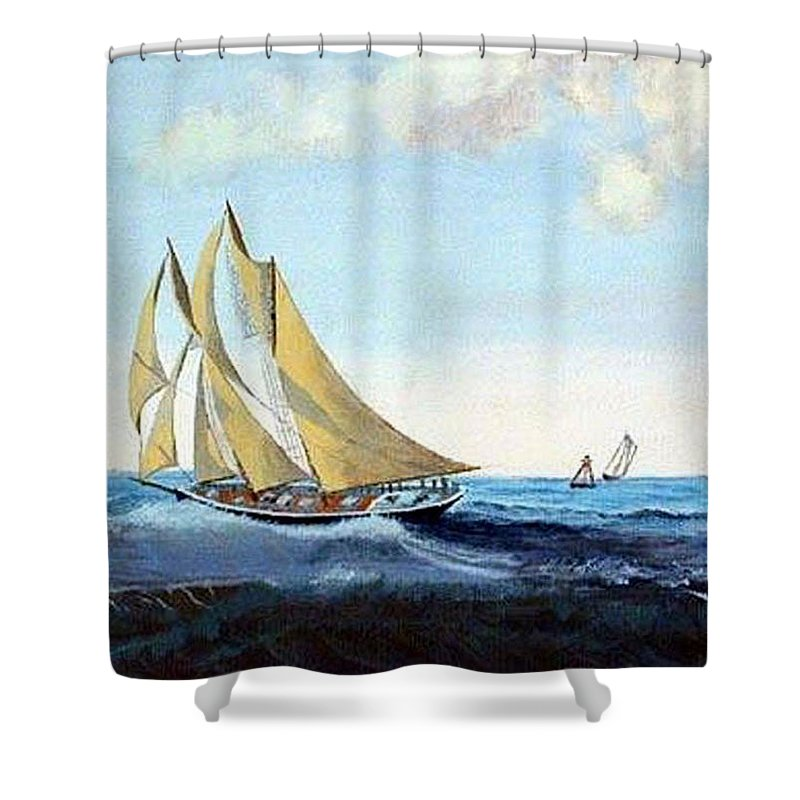 Bluenose Shower Curtain featuring the painting Bluenose by Richard Le Page