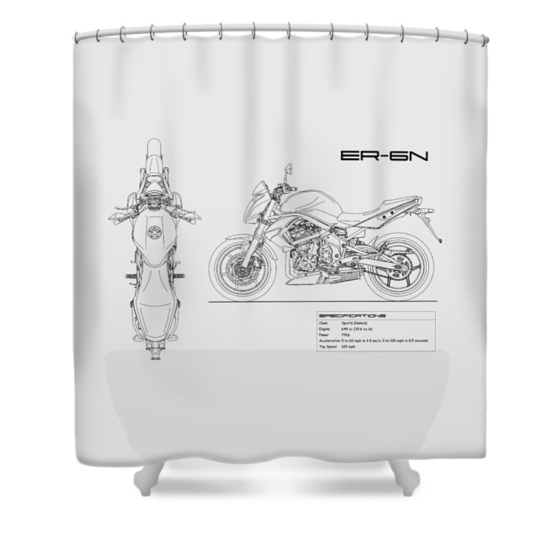 Kawasaki Shower Curtain Featuring The Photograph Blueprint Of A Er 6n Motorcycle By Mark Rogan
