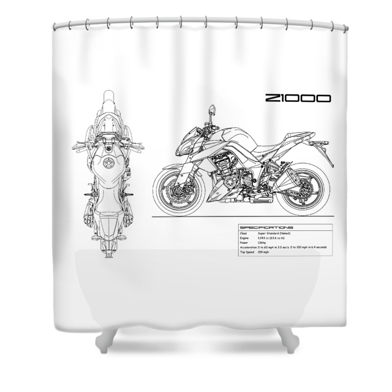Kawasaki Shower Curtain Featuring The Photograph Blueprint Of A Z1000 Motorcycle By Mark Rogan