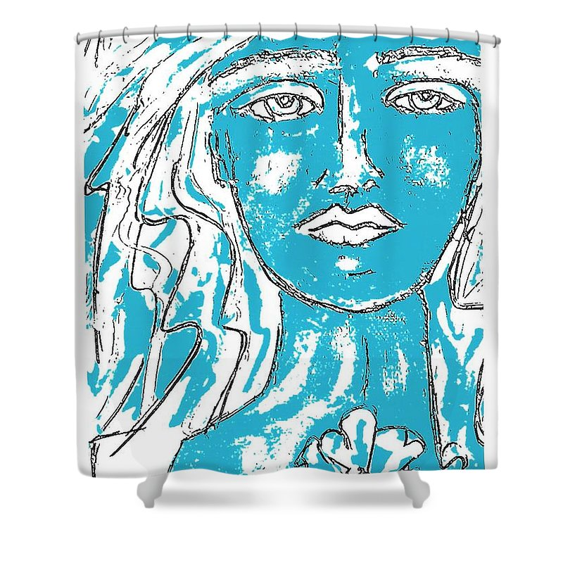 Abstract Shower Curtain featuring the painting Blues Girl by Kathy Augustine