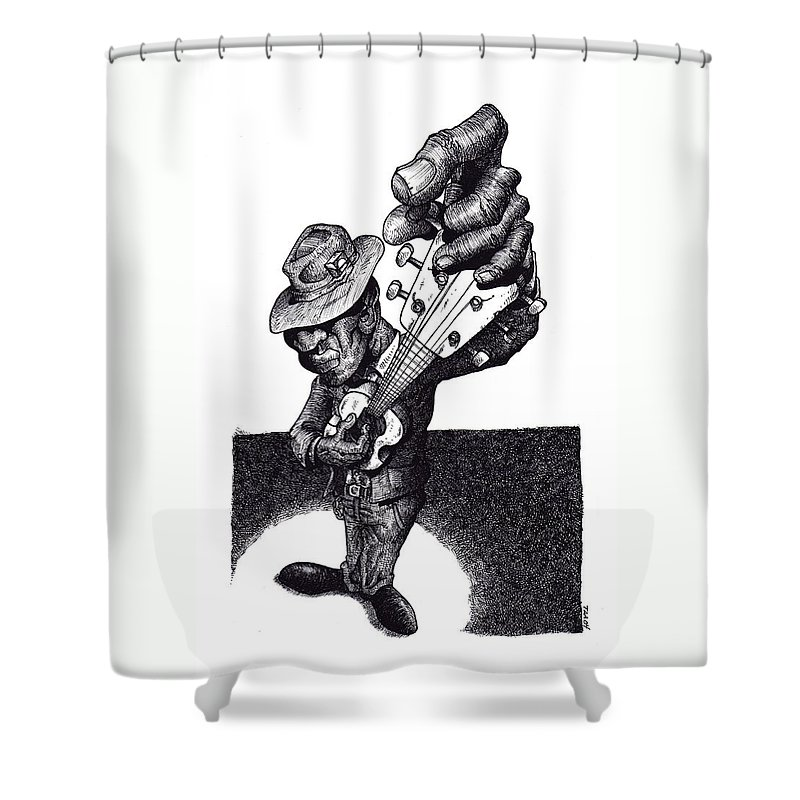 Blues Shower Curtain featuring the drawing Blues Guitar by Tobey Anderson