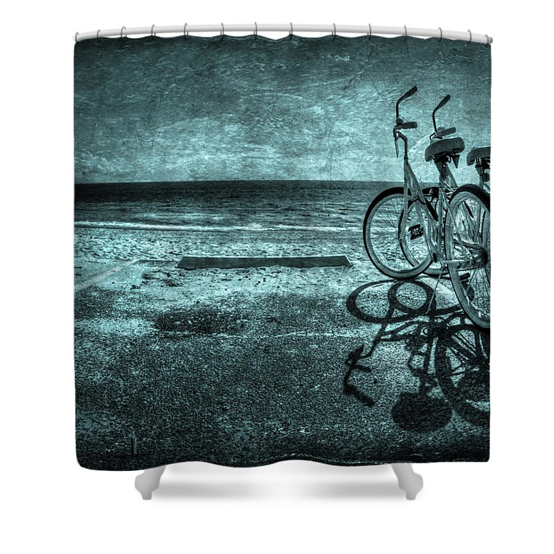 Bicycle Shower Curtain featuring the photograph Bluescape by Evelina Kremsdorf