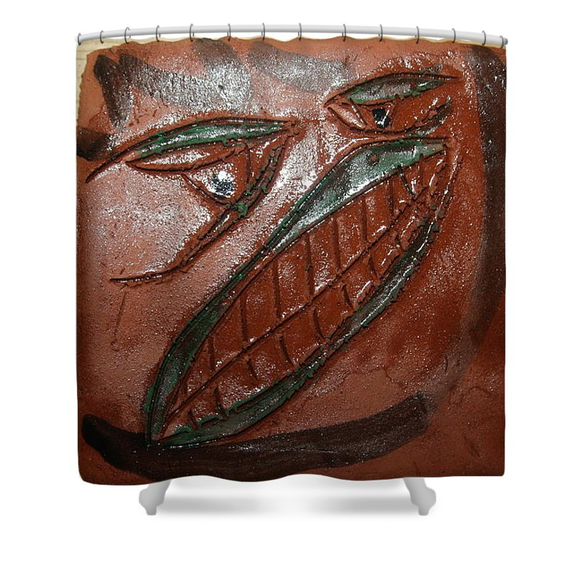 Jesus Shower Curtain featuring the ceramic art Bluff - Tile by Gloria Ssali