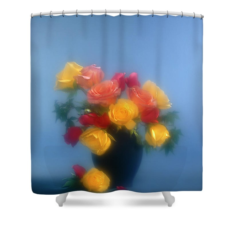 Arty; Still Life; Vertical; Composition; Flowers; Roses; Yellow; Blue; Red; Pink; Orange; Light Effects.spotlights; Bunch; Vase; Blur; Blurred Shower Curtain featuring the photograph Blurred Roses In The Blue by Stefania Levi