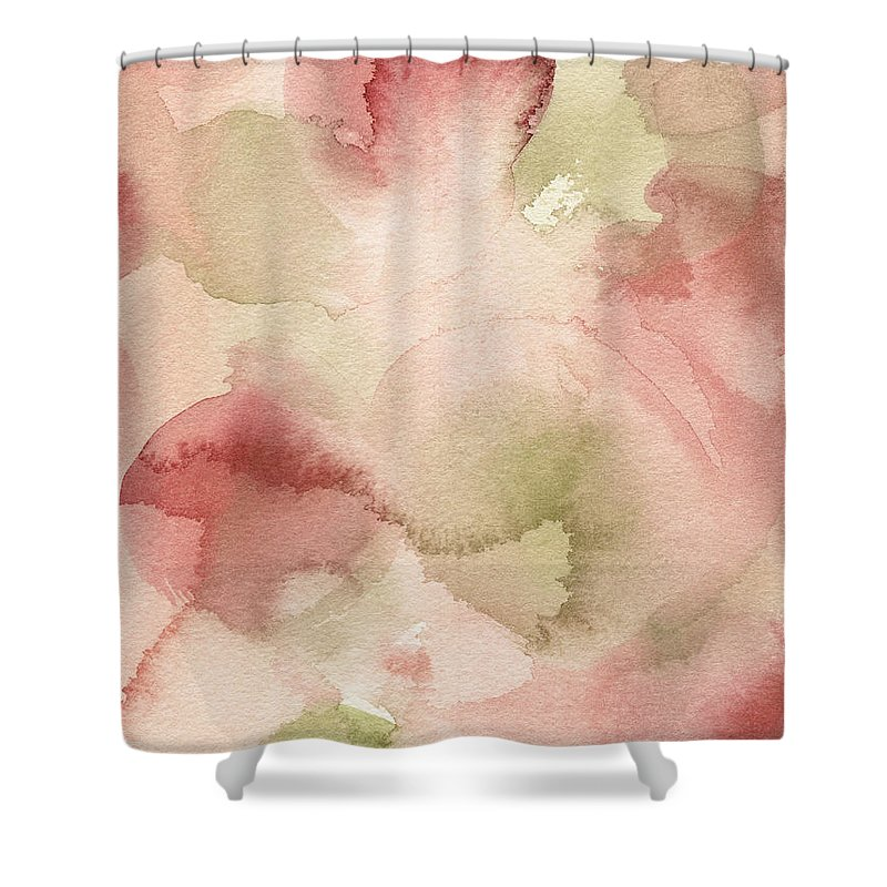 Coral Shower Curtain Featuring The Painting Blush Pink Green Persimmon By Beverly Brown