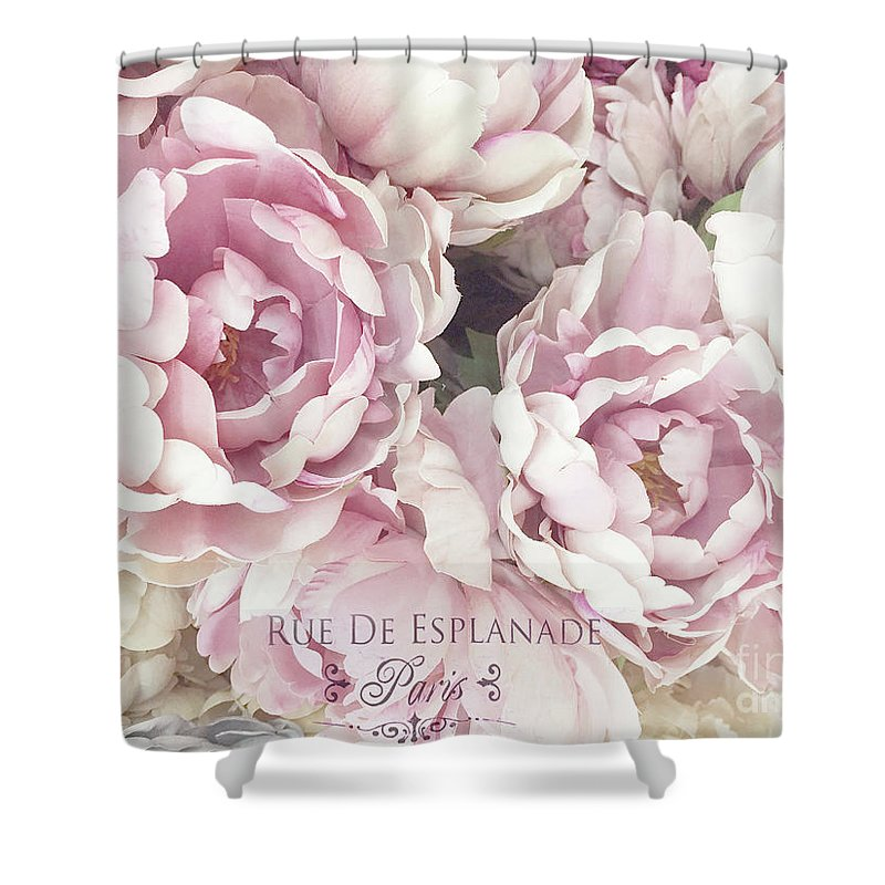 Shabby Chic Shower Curtain Featuring The Photograph Blush Pink Peony Flowers