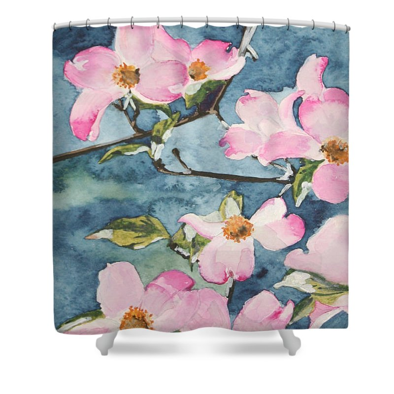 Flowers Shower Curtain featuring the painting Blushing Prettily by Jean Blackmer