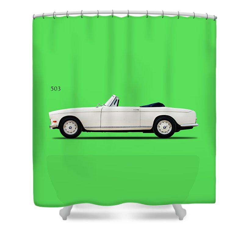 Bmw 503 Cabriolet 1956 Shower Curtain featuring the photograph Bmw 503 1956 by Mark Rogan