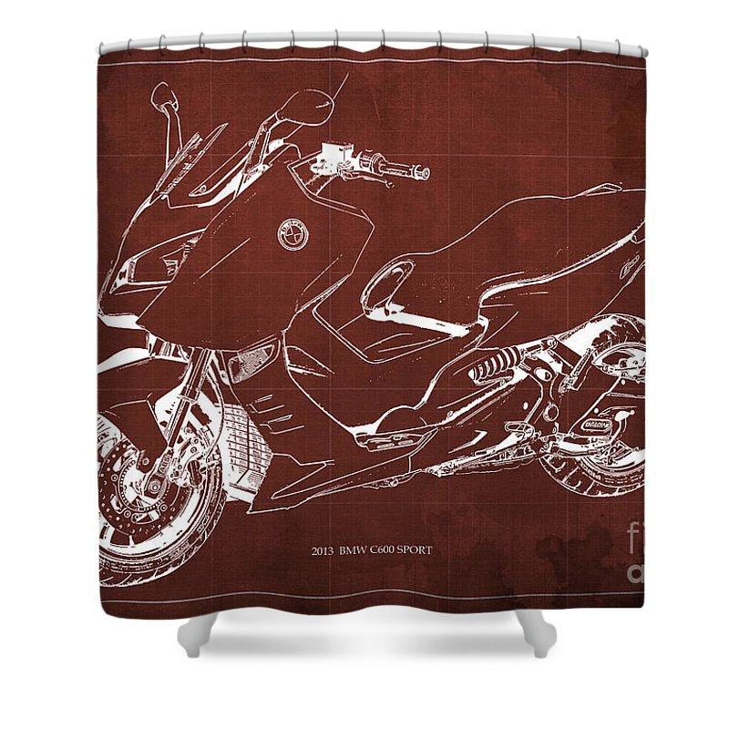 Bmw C600 Shower Curtain Featuring The Drawing Sport 2013 Blueprint Red And White Art