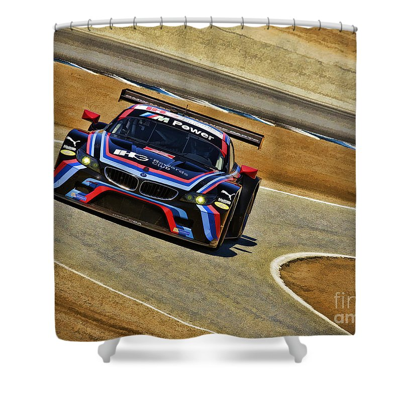 Bmw Z4 Gte Shower Curtain featuring the photograph Bmw Z4 Gte Gt Le Mans Tudor by Blake Richards