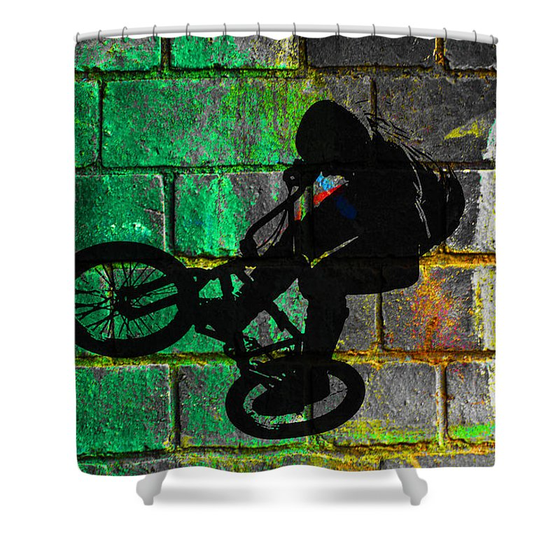 Bmx Shower Curtain featuring the digital art Bmx II by David Pringle