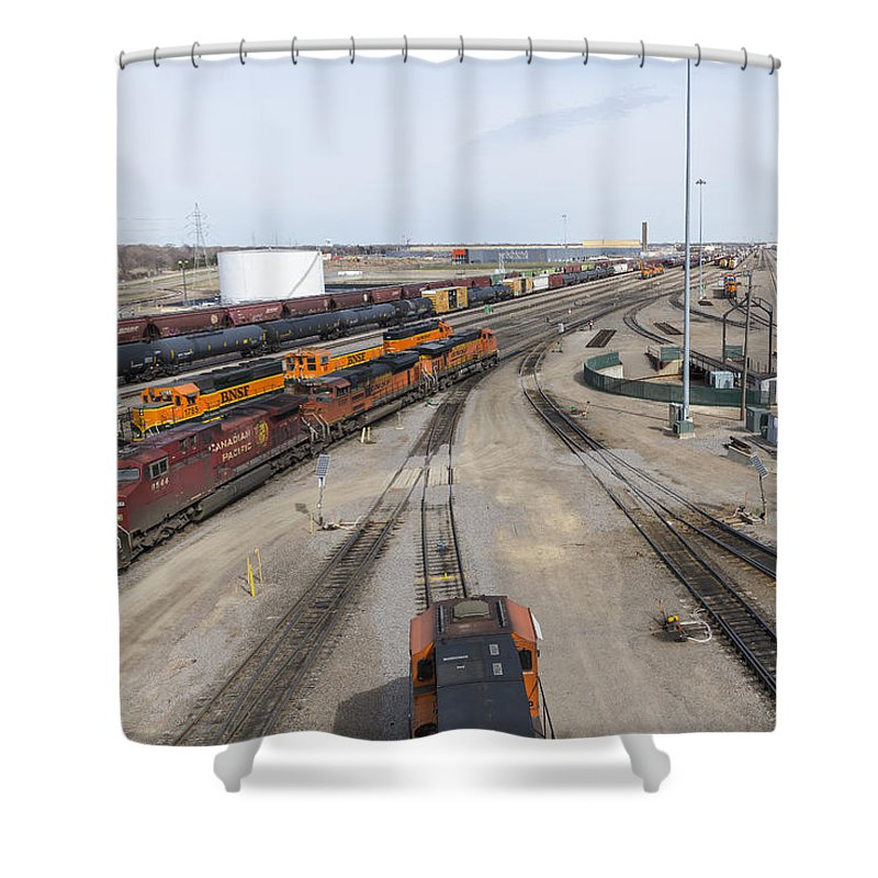 Train Shower Curtain featuring the photograph Bnsf Northtown Yard 6 by John Brueske