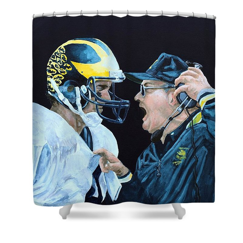 Michigan Shower Curtain featuring the painting BO Knows by Travis Day