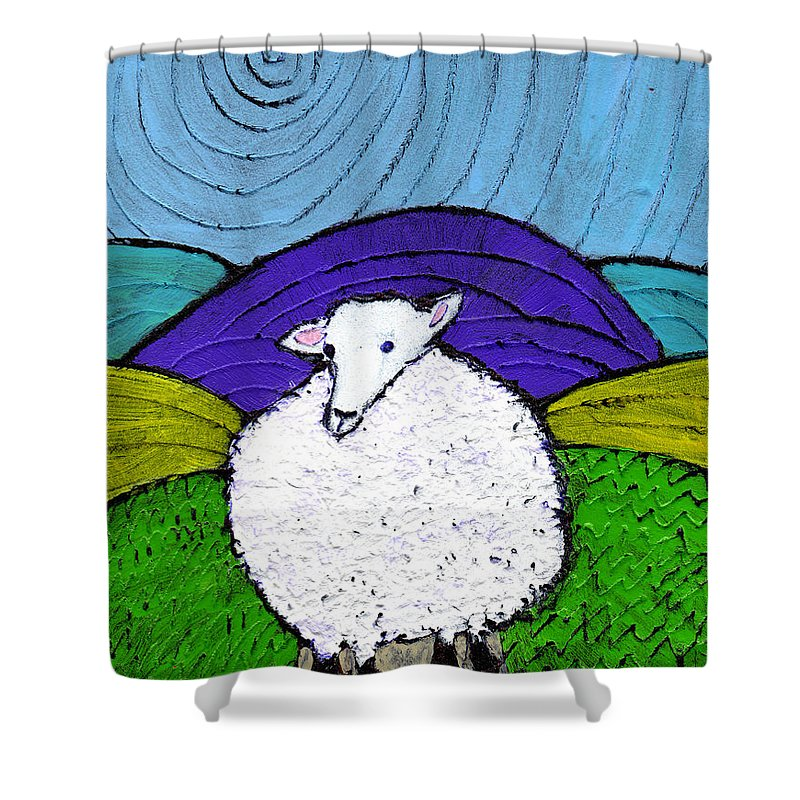 Sheep Shower Curtain featuring the painting Bo Peeps Lost Sheep by Wayne Potrafka