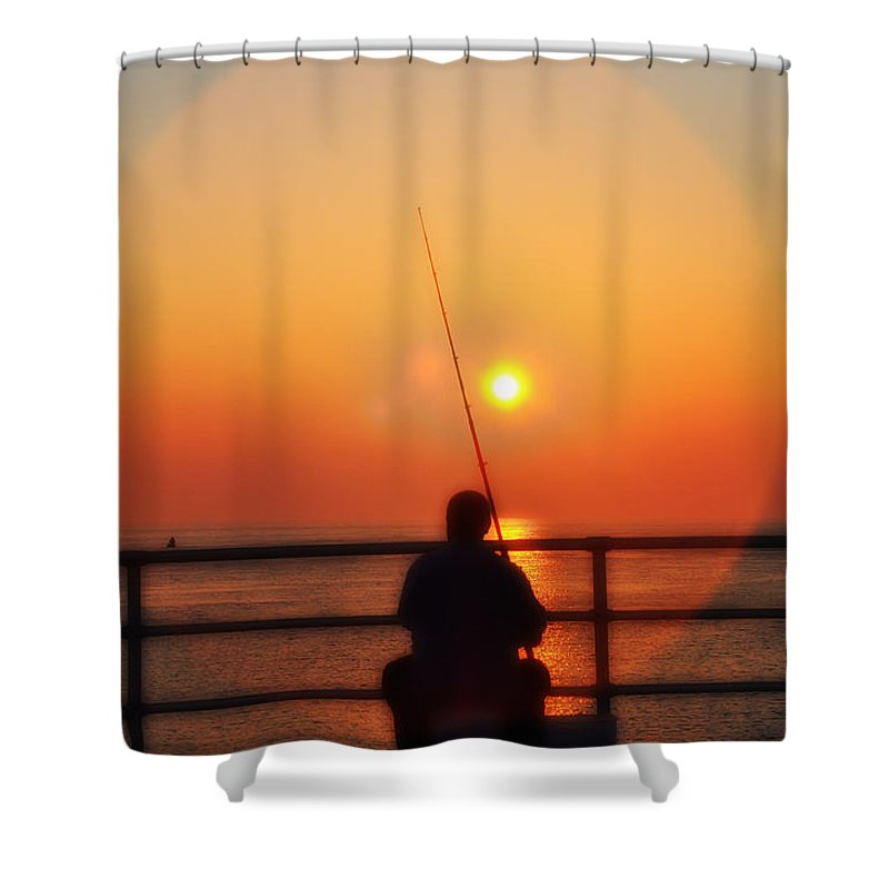 Atlantic City Shower Curtain featuring the photograph Boardwalk Fishing by Bill Cannon