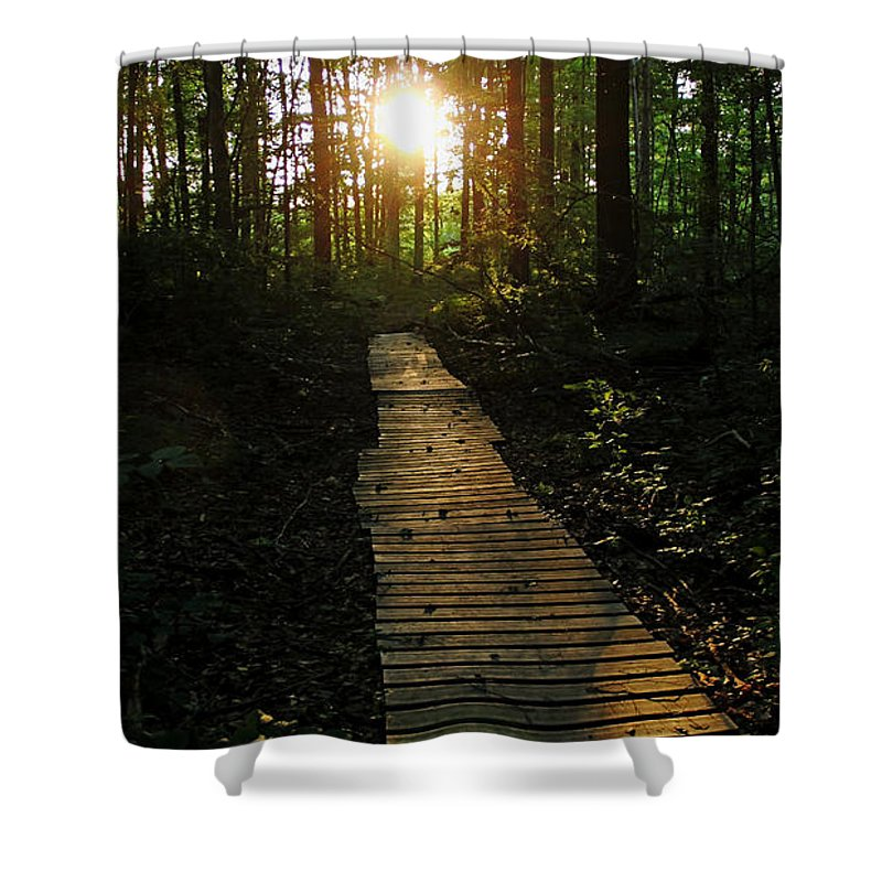 Guelph Shower Curtain featuring the photograph Boardwalk To The Sun by Debbie Oppermann